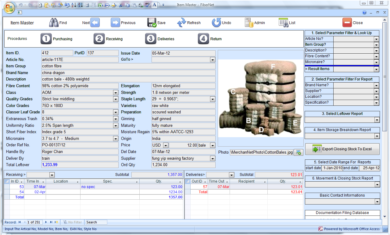 Textile Fiber  Inventory Management Software